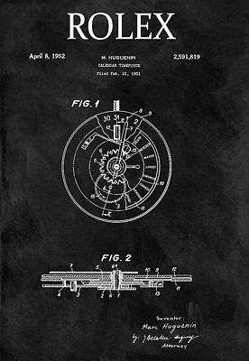 Calendars Mixed Media - Black And White Rolex Patent by Dan Sproul