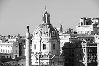 Black And White Rooftop In Rome Print by Stefano Senise