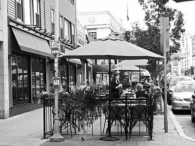 A Hot Summer Day Photograph - Black And White Sidewalk Cafe by Mary Ann Weger