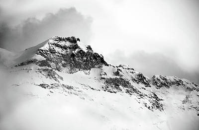 Blue Photograph - Black And White Snow Mountain - Landscape Photography Art by Wall Art Prints