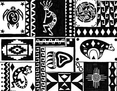 Black And White Southwest Sampler Print by Susie WEBER