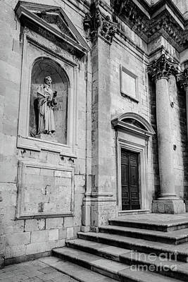 Dubrovnik Photograph - Black And White, Stone Church In Dubrovnik Croatia by Global Light Photography - Nicole Leffer
