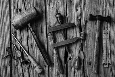 Black And White Tools Print by Garry Gay