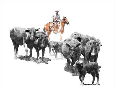 Calf Digital Art - Black Angus by Dewain Maney