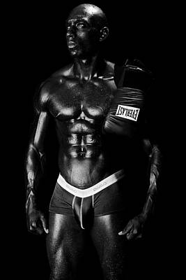 Black Boxer In Black And White 02 Print by Val Black Russian Tourchin