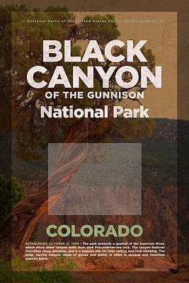 National Parks Mixed Media - Black Canyon Of The Gunnison National Park Travel Poster Series Of National Parks Number 17 by Design Turnpike