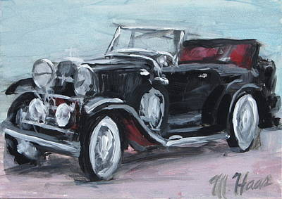Scoop Painting - Black Car by Mary Haas