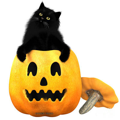 House Pet Digital Art - Black Cat And Halloween by Corey Ford