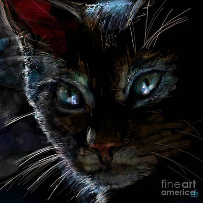Cats Painting - Black Cat by Angie Braun