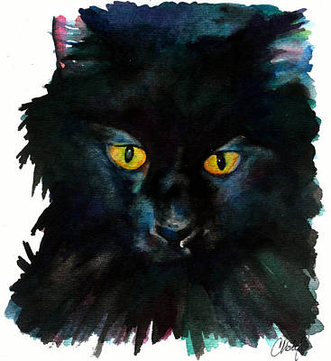 Witch Cat Painting - Black Cat by Christy  Freeman
