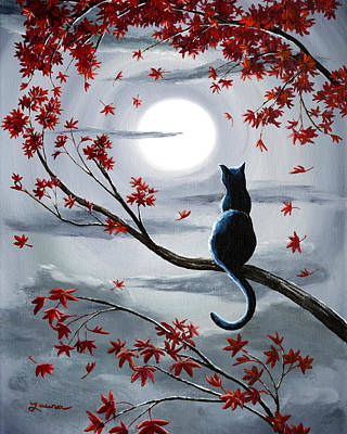 Autumn Landscape Painting - Black Cat In Silvery Moonlight by Laura Iverson