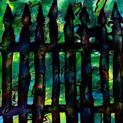 Spooky Digital Art - Black Cat by Rachel Christine Nowicki