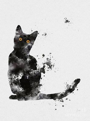 Kittens Mixed Media - Black Cat by Rebecca Jenkins