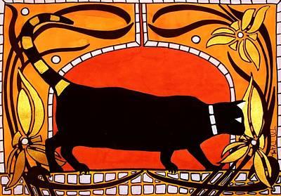 Black Cat With Floral Motif Of Art Nouveau By Dora Hathazi Mendes Print by Dora Hathazi Mendes