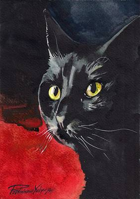 Cat Images Painting - Black Cat by Yuliya Podlinnova
