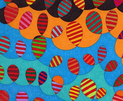 Black Clouds Blue Skies Sun And Balloons Print by Susan  Epps Oliver