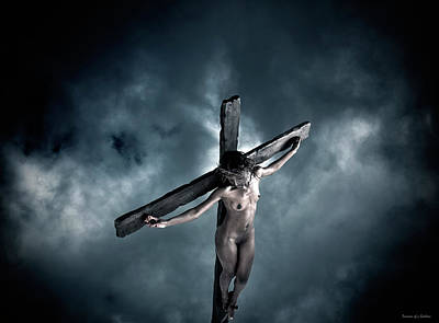 Christian Verse Photograph - Black Crucified Jesus by Ramon Martinez