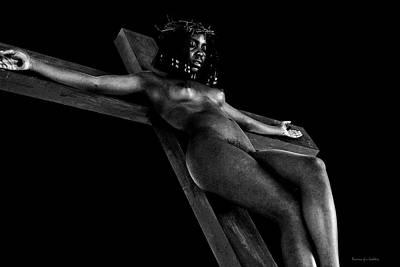 Black Crucified Woman In Dark I Print by Ramon Martinez