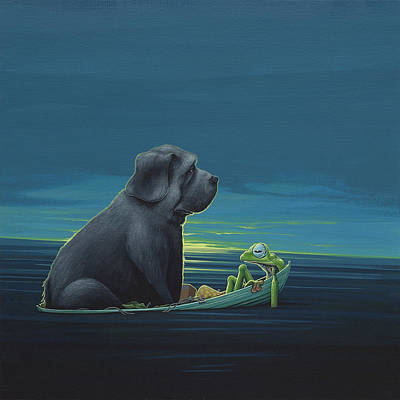 Frogs Painting - Black Dog by Jasper Oostland