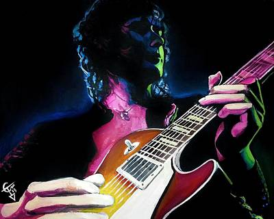 Jimmy Page Painting - Black Dog by Tom Carlton