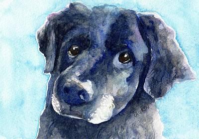 Black Lab Watercolor Painting - Black Dog Watercolor Portrait by Carlin Blahnik