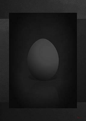 Black Egg On Black Canvas  Print by Serge Averbukh