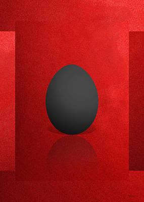 Black Egg On Red Canvas  Print by Serge Averbukh