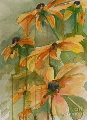 Drippy Painting - Black Eyed Susans by Gretchen Bjornson