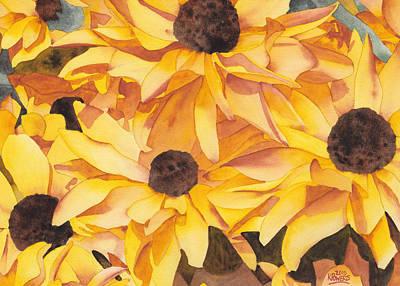 Black Eye Susan Painting - Black Eyed Susans by Ken Powers