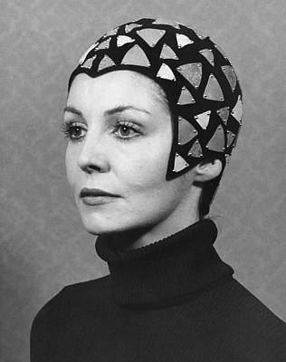 1960s Fashion Photograph - Black Felt Skull Cap Model by Underwood Archives