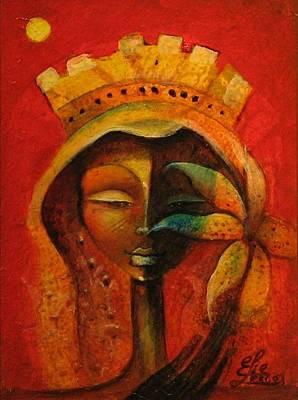 Black Flower Queen Print by Elie Lescot