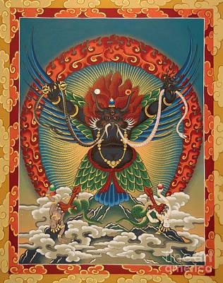 Buddhist Painting - Black Garuda - Tsasum Tersar by Sergey Noskov