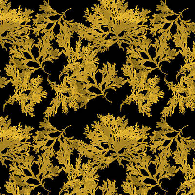 Digital Art - Black Gold Leaf Pattern by Christina Rollo