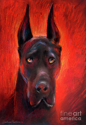 Dog Drawing - Black Great Dane Dog Painting by Svetlana Novikova
