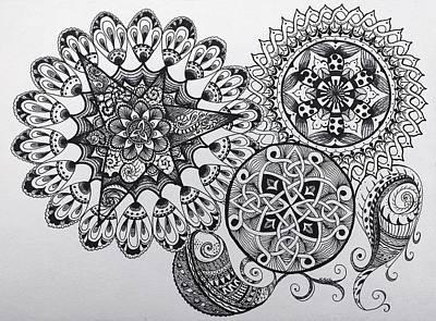 Mandala Drawing - Black Ink Mandala Celtic Knot Zentange Zen Tangle Paisley Pattern Design by Lorraine Kelly