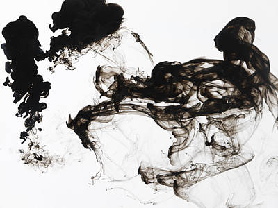 Black Ink Swirls In Water Print by Terry Mccormick