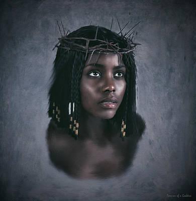 Black Jesus Portrait V Print by Ramon Martinez