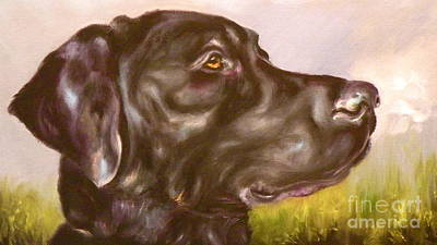 Black Labrador Drawing - Black Lab In The Field by Susan A Becker