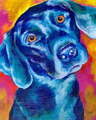 Black Lab Puppy Painting - Black Lab Pop Art by Christy  Freeman