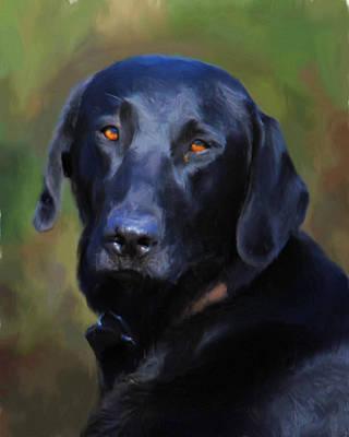 Black Labrador Retriever Painting - Black Lab Portrait by Jai Johnson