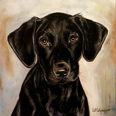 Black Labrador Puppies Pastel - Black Lab Puppy by Cat Culpepper