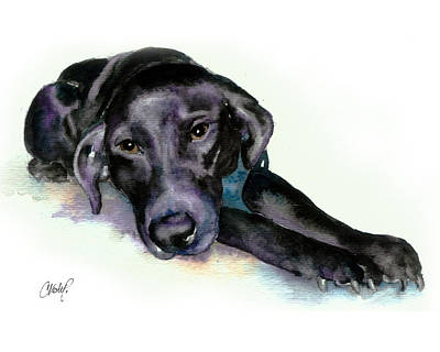 Black Lab Puppy Painting - Black Lab Stretching Out by Christy  Freeman