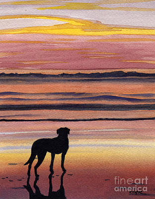 Black Lab Watercolor Painting - Black Lab Sunset by David Rogers