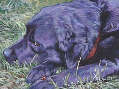 Black Lab Puppy Painting - Black Labrador Retriever by Lee Ann Shepard