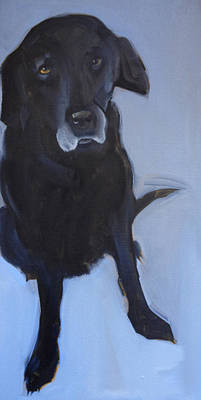 Backdrop Painting - Black Labrador by Sally Muir