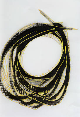 Statement Ring Painting - Black Lasso With Gold by Leigh Rosten