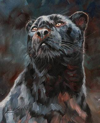 Panther Painting - Black Leopard by David Stribbling