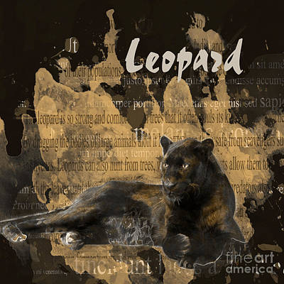 Leopard Mixed Media - Black Leopard by Methune Hively