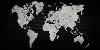 Black Metal Industrial World Map Print by Douglas Pittman