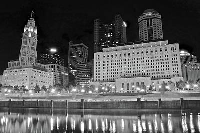 Photograph - Black Night Lights In Columbus by Frozen in Time Fine Art Photography